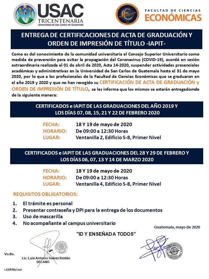 ENTREGA DE CERTIFICACIONES DE ACTA DE GRADUACIÓN E IAPIT