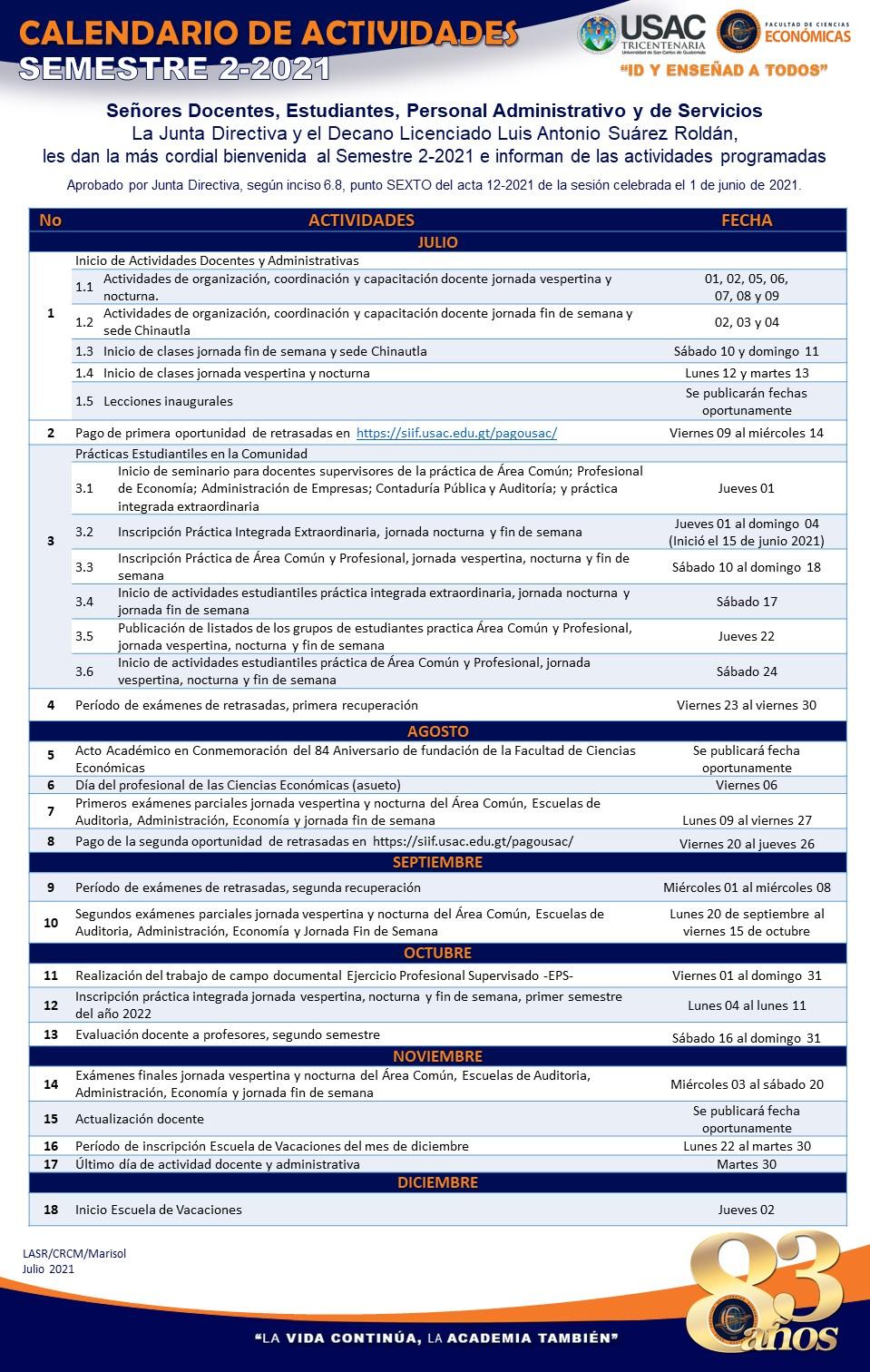 CALENDARIO DE ACTIVIDADES SEM 2-2021